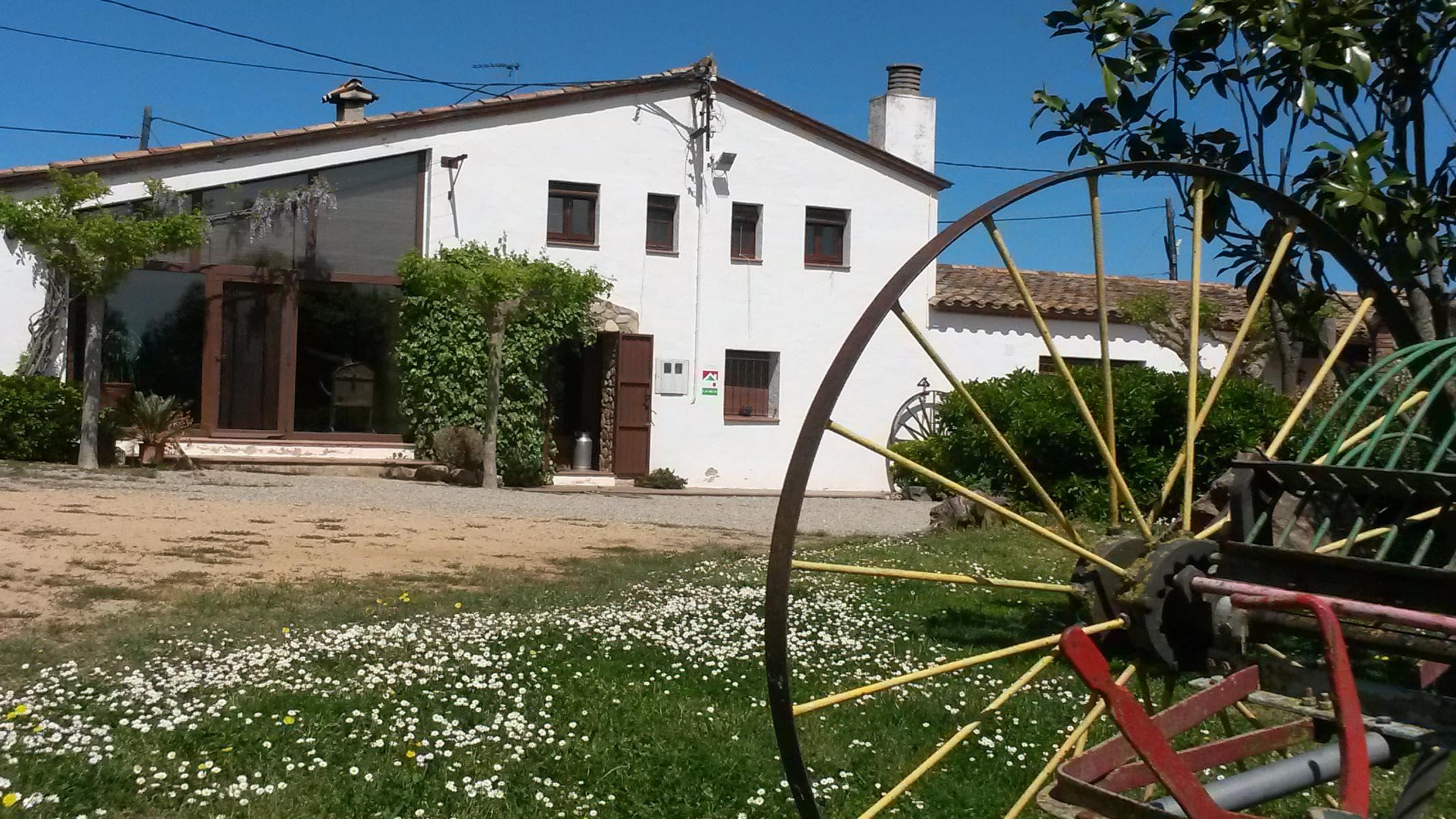 patio de la entrada y vidriera salón de la casa rural de Can Micos