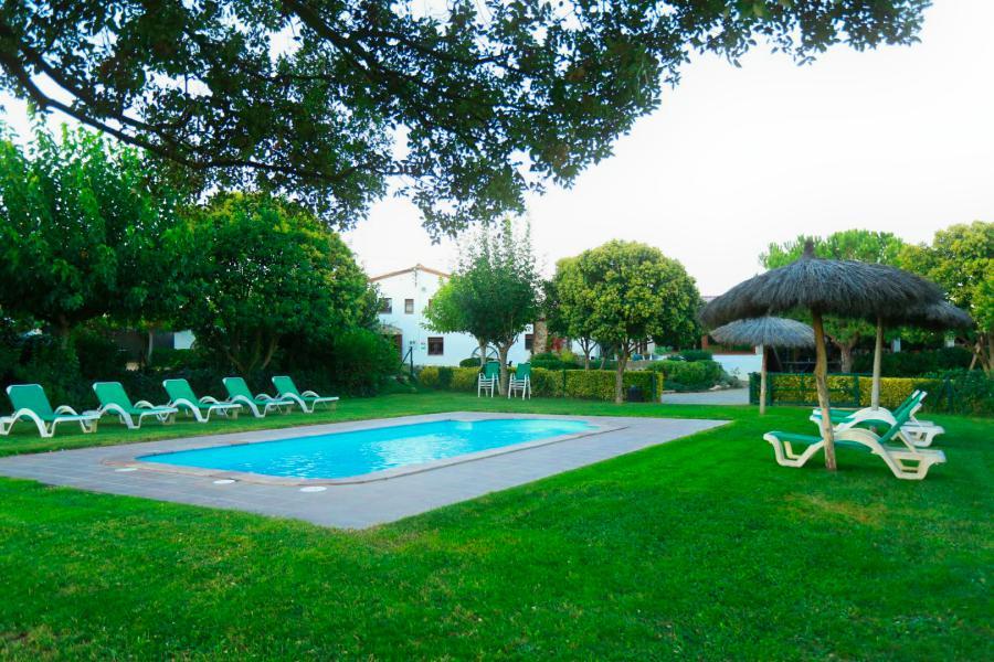 piscina y césped de la casa de vacaciones de Can Micos